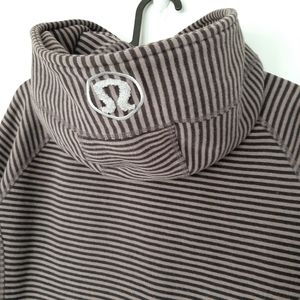 LULULEMON Scuba Zip Hoodie Stripe Gray Mauve Sz 10